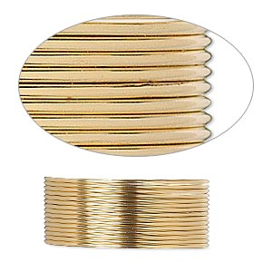 wire, 12kt gold-filled, dead-soft, round, 21 gauge. sold per pkg of 5 feet.