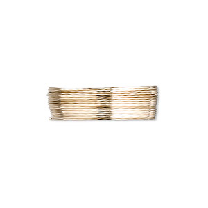 wire, 12kt gold-filled, dead-soft, round, 26 gauge. sold per pkg of 5 feet.
