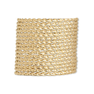 wire, 12kt gold-filled, dead-soft, twisted round, 13.5 gauge. sold per pkg of 5 feet.