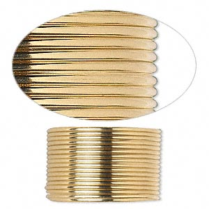wire, 12kt gold-filled, full-hard, half-round, 18 gauge. sold per pkg of 5 feet.