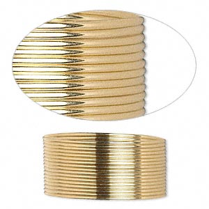 wire, 12kt gold-filled, full-hard, half-round, 21 gauge. sold per pkg of 5 feet.