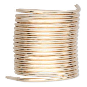 wire, 12kt gold-filled, full-hard, round, 12 gauge. sold per pkg of 5 feet.