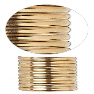 wire, 12kt gold-filled, full-hard, round, 14 gauge. sold per pkg of 5 feet.