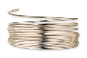 wire, 12kt gold-filled, full-hard, round, 18 gauge. sold per pkg of 5 feet.