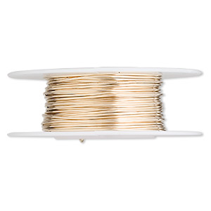 wire, 12kt gold-filled, full-hard, round, 21 gauge. sold per pkg of 5 feet.