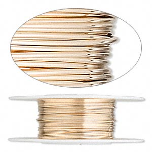 wire, 12kt gold-filled, full-hard, round, 24 gauge. sold per pkg of 25 feet.