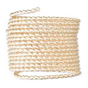 wire, 12kt gold-filled, full-hard, twisted square, 16 gauge. sold per pkg of 5 feet.