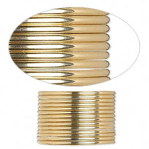 wire, 12kt gold-filled, half-hard, half-round, 16 gauge. sold per pkg of 5 feet.
