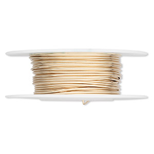 wire, 12kt gold-filled, half-hard, round, 18 gauge. sold per pkg of 5 feet.