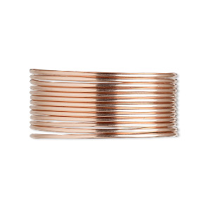 wire, 12kt rose gold-filled, dead-soft, round, 18 gauge. sold per pkg of 25 feet.