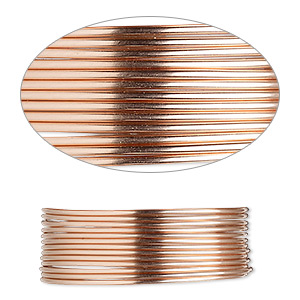 wire, 12kt rose gold-filled, half-hard, round, 20 gauge. sold per pkg of 25 feet.
