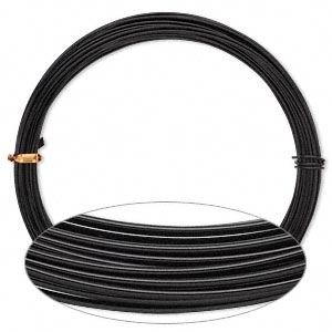 wire, anodized aluminum, black, 1.25mm round, 16 gauge. sold per pkg of 45 feet.