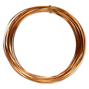 wire, anodized aluminum, copper, 1.2mm square, 16 gauge. sold per pkg of 45 feet.