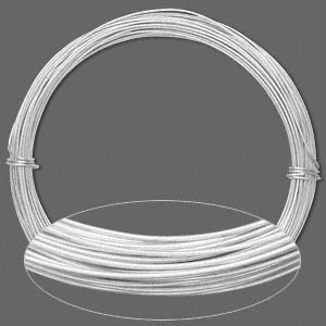 wire, anodized aluminum, silver, 0.8mm round, 20 gauge. sold per pkg of 45 feet.