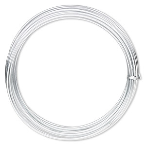 wire, anodized aluminum, silver, 2.5mm round, 10 gauge. sold per pkg of 18 feet.