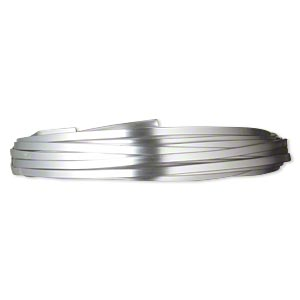 wire, anodized aluminum, silver, 4x1.2mm flat, 16 gauge. sold per pkg of 18 feet.