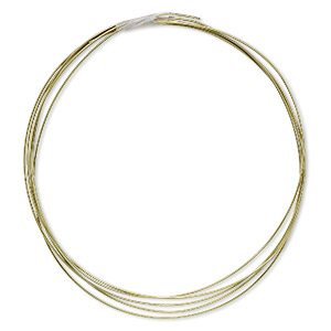 wire, anodized niobium, yellow, half-hard, round, 20 gauge. sold pkg of 5 feet.