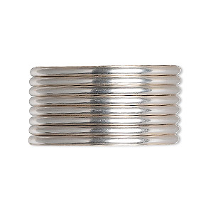 wire, argentium silver, dead-soft, round, 12 gauge. sold per pkg of 5 feet.