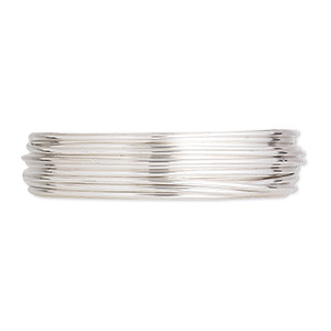wire, argentium silver, dead-soft, round, 20 gauge. sold per pkg of 5 feet.