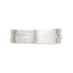 wire, argentium silver, full-hard, round, 24 gauge. sold per pkg of 5 feet.