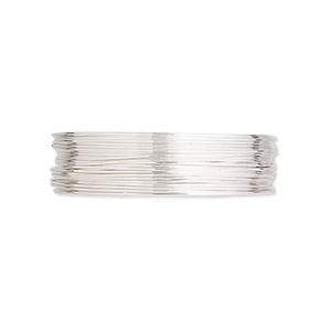 wire, argentium silver, half-hard, round, 26 gauge. sold per pkg of 5 feet.