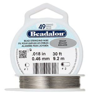 wire, beadalon, nylon and stainless steel, bright, 49 strand, 0.018-inch diameter. sold per 30-foot spool.