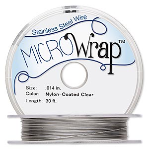 wire, microwrap™, nylon-coated stainless steel, clear, 1 strand, 0.014-inch diameter. sold per 30-foot spool.