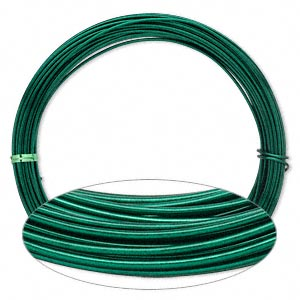wire, painted aluminum, green, round, 14 gauge. sold per pkg of 45 feet.