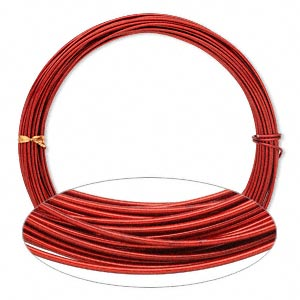 wire, painted aluminum, red, round, 14 gauge. sold per pkg of 45 feet.