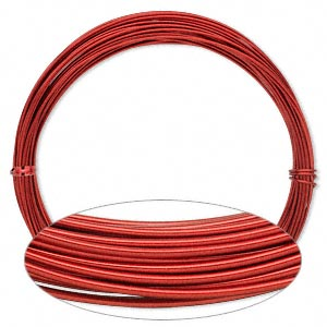 wire, painted aluminum, red, round, 16 gauge. sold per pkg of 45 feet.