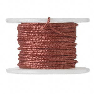 wire, polyester-covered galvanized steel, wine, 1mm wide, 18 gauge. sold per 10-yard spool.