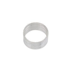 wire, silver-plated carbon steel, 0.4-0.5mm thick, 1/2 inch inside diameter. sold per pkg of 12 loops.