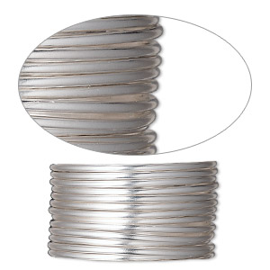 wire, sterling silver-filled, half-hard, round, 14 gauge. sold per pkg of 25 feet.