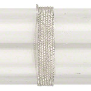 wire, sterling silver, full-hard, textured round, 18 gauge. sold per pkg of 5 feet.