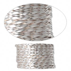wire, sterling silver, full-hard, twisted square, 14 gauge. sold per pkg of 5 feet.