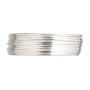 wire, sterling silver, half-hard, half-round, 18 gauge. sold per pkg of 5 feet.