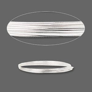 wire, sterling silver, half-hard, round, 20 gauge. sold per pkg of 5 feet.
