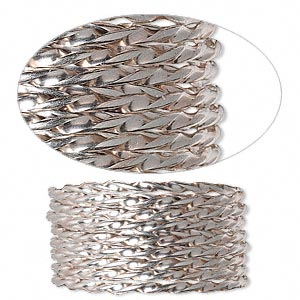 wire, sterling silver, half-hard, twisted round, 13.5 gauge. sold per pkg of 5 feet.