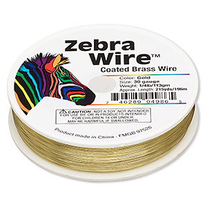 wire, zebra wire™, brass, gold color, round, 30 gauge. sold per 1/4 pound spool, approximately 215 yards.