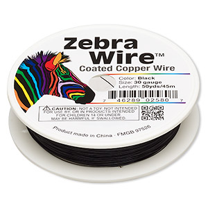 wire, zebra wire™, color-coated copper, black, round, 30 gauge. sold per 50-yard spool.