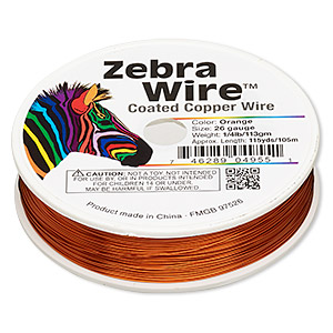wire, zebra wire™, color-coated copper, orange, round, 26 gauge. sold per 1/4 pound spool, approximately 115 yards.