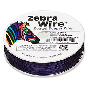 wire, zebra wire™, color-coated copper, purple, round, 28 gauge. sold per 1/4 pound spool, approximately 164 yards.