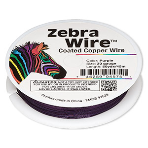 wire, zebra wire™, color-coated copper, purple, round, 30 gauge. sold per 50-yard spool.