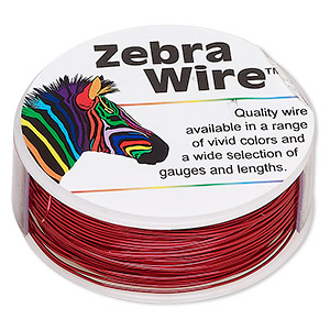 wire, zebra wire™, color-coated copper, red, round, 24 gauge. sold per 1/4 pound spool, approximately 71 yards.