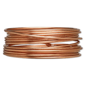 wire, zebra wire™, natural copper, round, 12 gauge. sold per 3-yard spool.