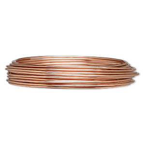 wire, zebra wire™, natural copper, round, 16 gauge. sold per 6-yard spool.