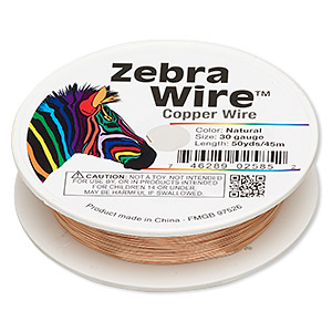 wire, zebra wire™, natural copper, round, 30 gauge. sold per 50-yard spool.
