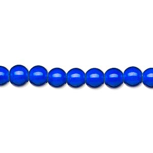wonder bead, acrylic, blue, 6mm round. sold per 16-inch strand.