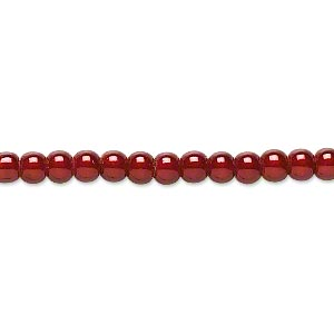 wonder bead, acrylic, cranberry, 4mm round with 0.9-1.2mm hole. sold per 16-inch strand.