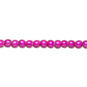 wonder bead, acrylic, fuchsia, 4mm round with 0.9-1.2mm hole. sold per 16-inch strand.